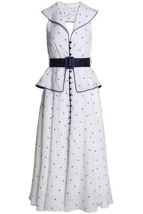 GÜL HÜRGEL Backless satin-trimmed linen midi dress