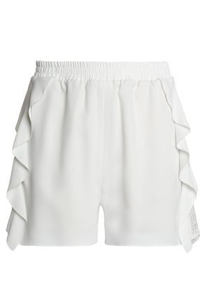 WOMAN LACE-TRIMMED RUFFLED CREPE DE CHINE SHORTS WHITE