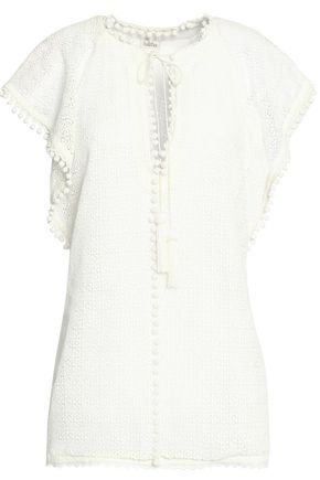 TALITHA Pompom-trimmed silk-lace top