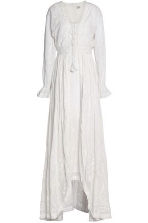 TALITHA Lace-up embroidered cotton kaftan