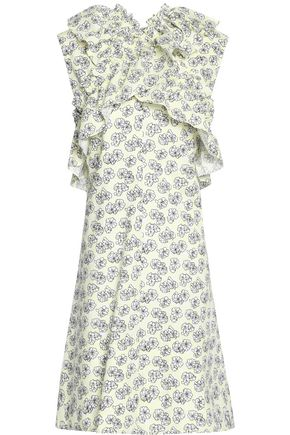 MARNI Ruffle-trimmed floral-print cotton-poplin dress