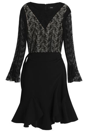 GOEN.J Embroidered tulle-paneled ruffled crepe mini dress