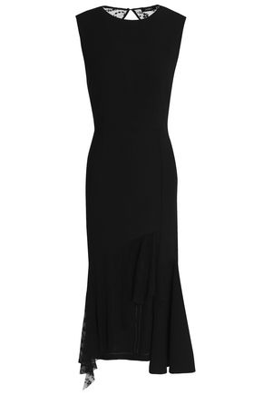 GOEN.J Asymmetric cutout embroidered tulle-paneled crepe dress
