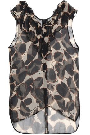 MARNI Ruffled printed silk-georgette blouse