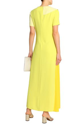 GOEN.J Ruffle-trimmed color-block crepe gown