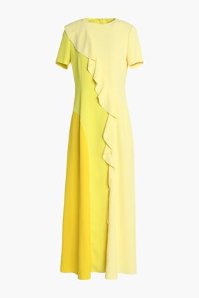 GOEN.J Ruffle-trimmed color-block crepe gown