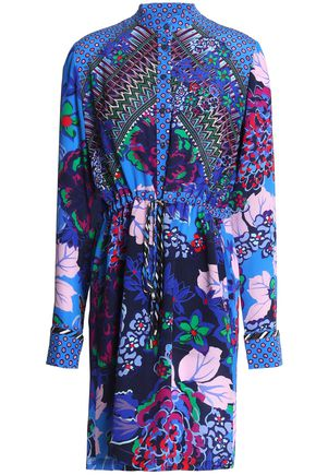 SALONI Leigh printed silk mini shirt dress