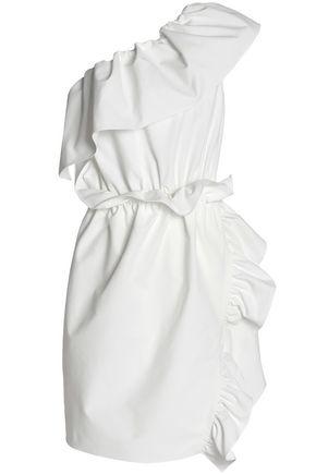 GOEN.J One-shoulder ruffle-trimmed poplin dress