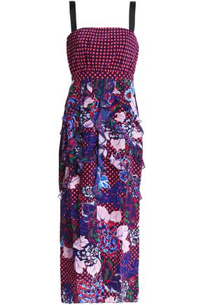 SALONI Dana ruffled printed silk midi dress