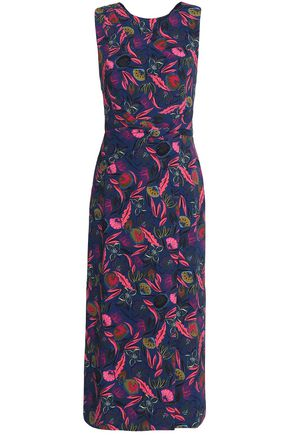 SALONI Printed crepe midi dress