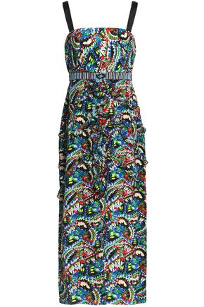 SALONI Bead-embellished printed crepe midi dress