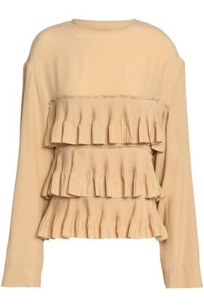 MARNI Tiered pleated crepe de chine blouse