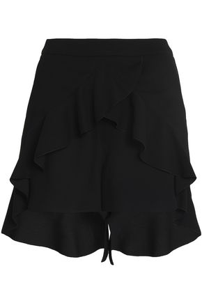 WOMAN LAYERED RUFFLED CREPE SHORTS BLACK
