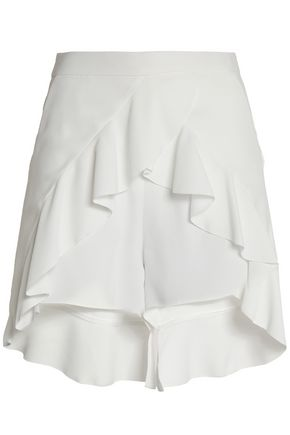 WOMAN LAYERED RUFFLED CREPE SHORTS WHITE