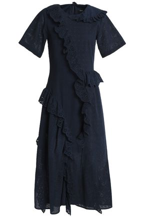 GOEN.J Asymmetric ruffled broderie anglaise and embroidered cotton midi dress