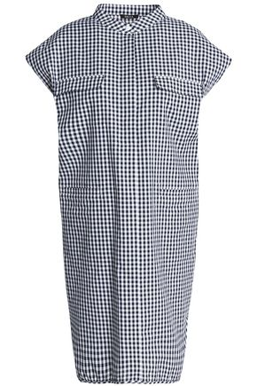 RAOUL Gingham cotton mini shirt dress