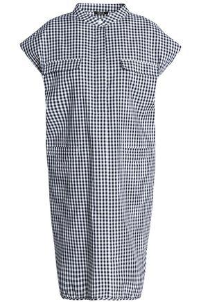 RAOUL Gingham cotton mini shirt dress