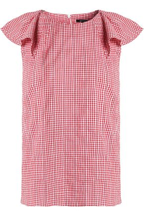 RAOUL Embroidered gingham cotton top