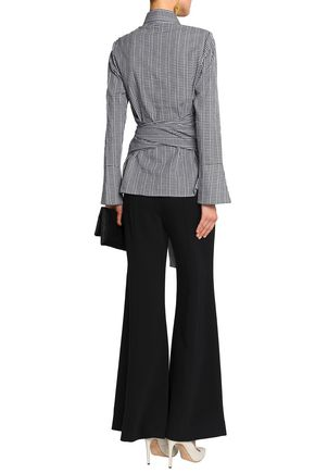 RAOUL Tie-front gingham fil coupé cotton-poplin shirt