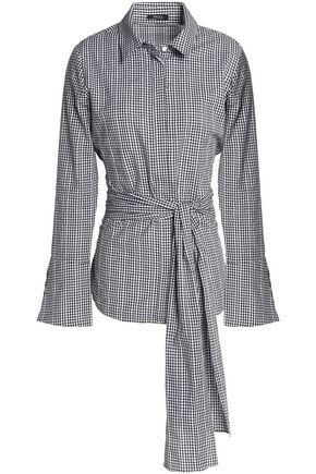 RAOUL Tie-front embroidered gingham cotton-poplin shirt