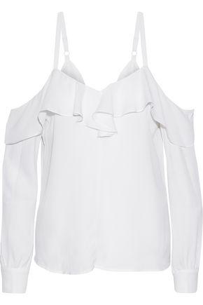 A.L.C. Cold-shoulder ruffled silk crepe de chine blouse