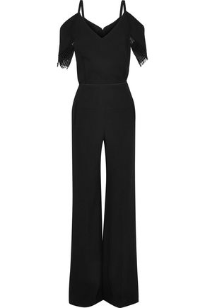 ROLAND MOURET Cold-shoulder lace-trimmed wool-crepe jumpsuit