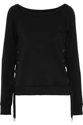 BAILEY 44 I'm Out Of The Office lace-up stretch-modal fleece top