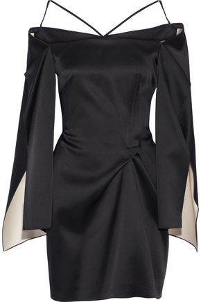 ROLAND MOURET Cold-shoulder gathered satin mini dress