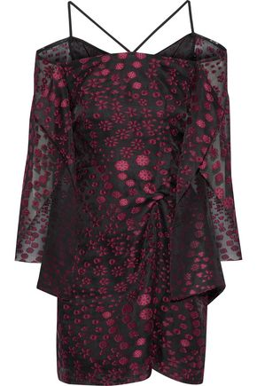 ROLAND MOURET Meedstead cold-shoulder fil coupé mini dress