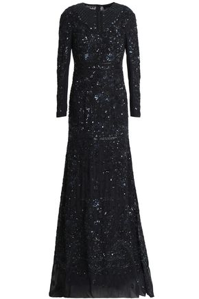 NEEDLE & THREAD Bead and sequin-embellished chiffon gown