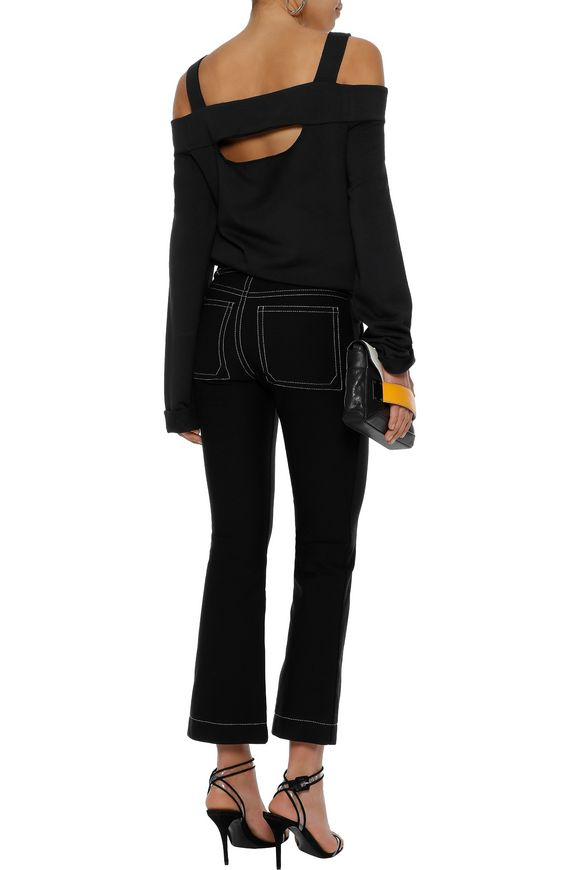 33f6bb12ac856a Cold-shoulder cutout stretch-modal jersey top