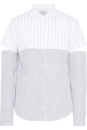 BAILEY 44 Cutout paneled striped cotton-poplin shirt