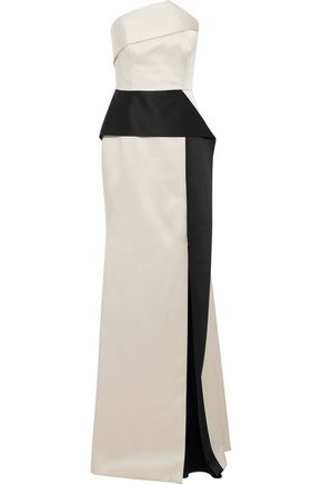 ROLAND MOURET Addover strapless satin-crepe gown