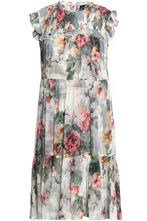 NEEDLE & THREAD Ruffle-trimmed floral-print chiffon dress