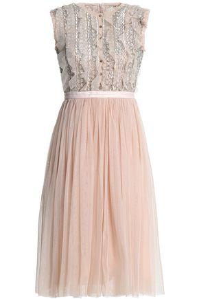 NEEDLE & THREAD Embellished pleated tulle dress
