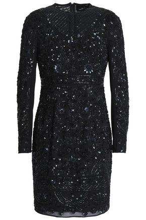 NEEDLE & THREAD Bead and sequin-embellished chiffon mini dress