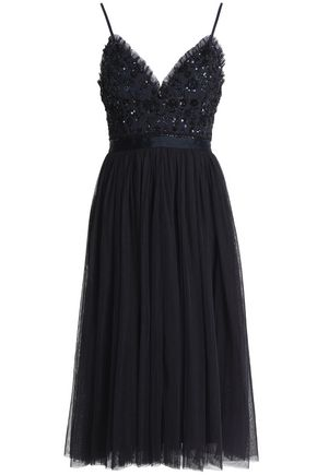 NEEDLE & THREAD Bead and sequin-embellished pleated tulle dress