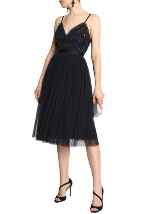 Bead And Sequin Embellished Pleated Tulle Dress by Needle & Thread