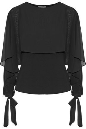 WOMAN ALLONGE CAPE-EFFECT CHIFFON AND JERSEY TOP BLACK