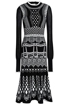TEMPERLEY LONDON Fluted pointelle and jacquard-knit midi dress
