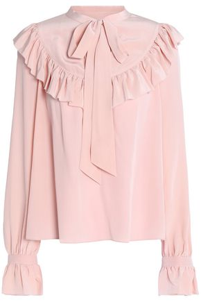 TEMPERLEY LONDON Pussy-bow ruffled silk crepe de chine blouse