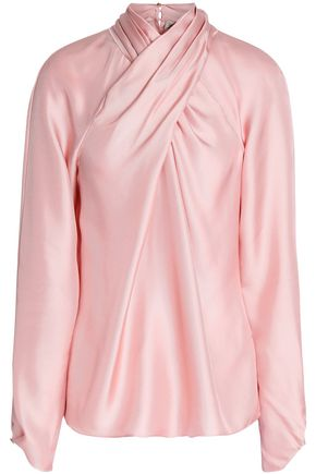 TEMPERLEY LONDON Seabright twist-front silk satin-twill blouse