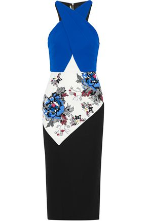 ROLAND MOURET Maxton paneled embroidered floral-print crepe dress