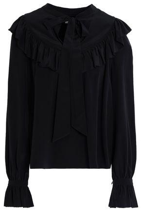 TEMPERLEY LONDON Pussy-bow ruffled silk crepe de chine blouse