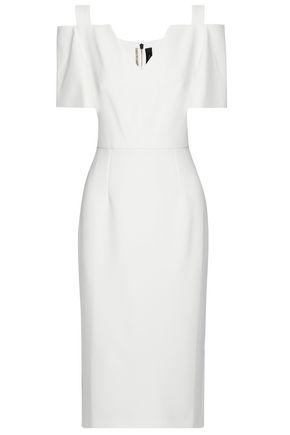 ROLAND MOURET Cold-shoulder wool-crepe dress