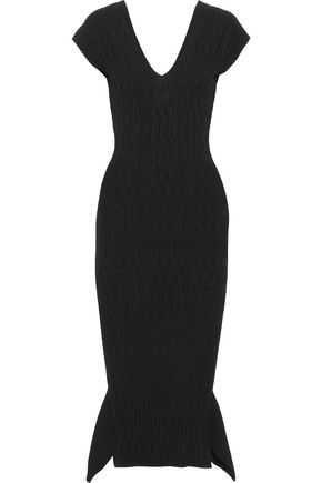 ROLAND MOURET Draped jacquard-knit midi dress