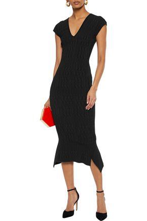 ROLAND MOURET Draped jacquard-knit midi dress