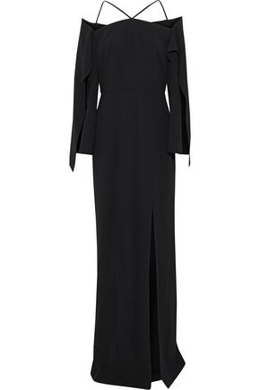 ROLAND MOURET Cheveley cold-shoulder crepe gown