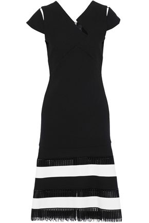 ROLAND MOURET Horham striped open knit-paneled wool-crepe dress
