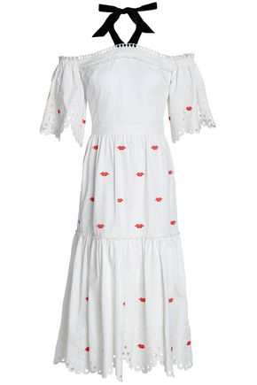 TEMPERLEY LONDON Calligraphy embroidered cotton halterneck dress